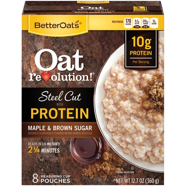 Better Oats Oat Revolution! Steel Cut with Protein Maple & Brown Sugar with Flax Instant Oatmeal