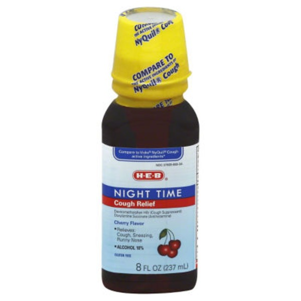 H-E-B Cherry Flavor Night Time Cough Relief Syrup