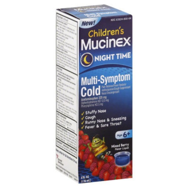 Children's Mucinex Children's Night Time Multi-Symptom Mixed Berry Flavor Liquid Cold Relief
