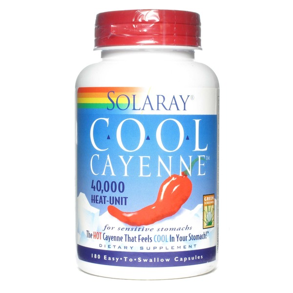 Solaray Cool Cayenne 40 000 Heat-Unit 180 Easy To Swallow Capsules
