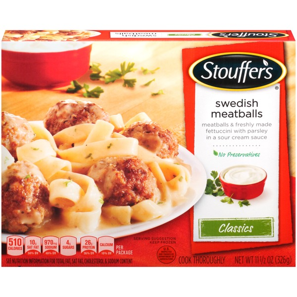 Stouffer's Classics Meatballs & freshly made fettuccini with parsley in a sour cream sauce Swedish Meatballs