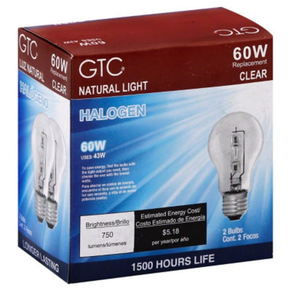 GTC 60 Watt Halogen Clear Light Bulbs