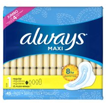Always Maxi Size 1 Regular Pads with Wings, Unscented, 45 Count