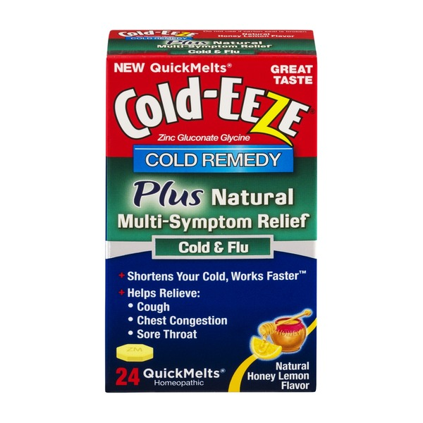 Cold-Eeze Cold Remedy Plus Natural Multi-Sympton Relief Cold & Flu QuickMelts Honey Lemon - 24 CT
