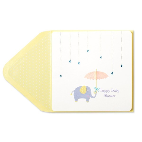 Papyrus Raindrops Umbrella & Elephant Baby Shower Card
