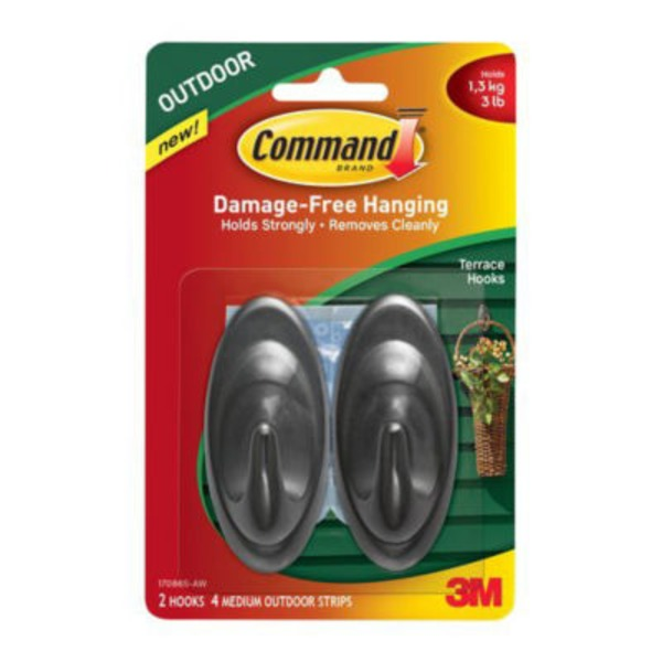 Command. Damage-Free Outdoor Terrace Hooks, Slate, Medium