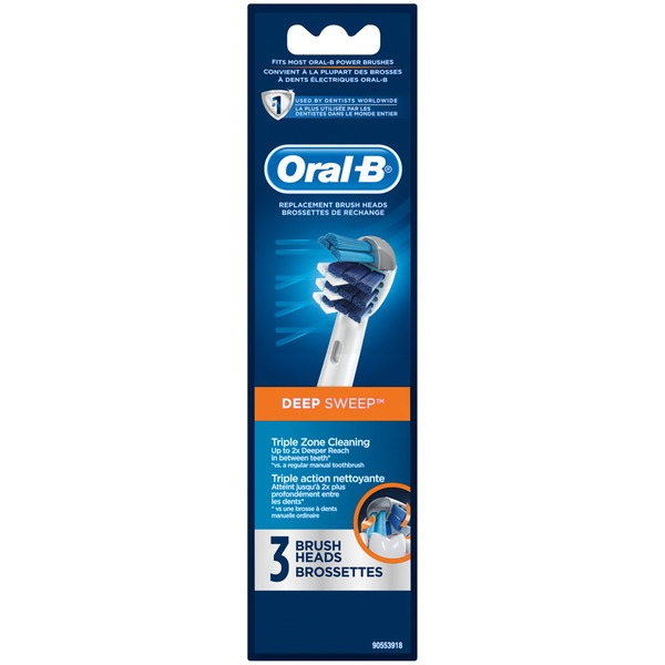 Oral-B Deep Sweep Oral-B Deep Sweep Replacement Electric Toothbrush Head 3 Count Power Oral Care