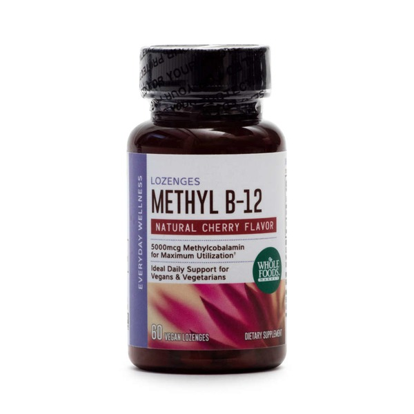 Whole Foods Market Methyl B-12 Vegan Lozenges Natural Cherry Flavor 5000 mcg