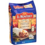 El Monterey Signature Shredded Steak & Three-Cheese Burritos, 12 count, 3.75 lbs