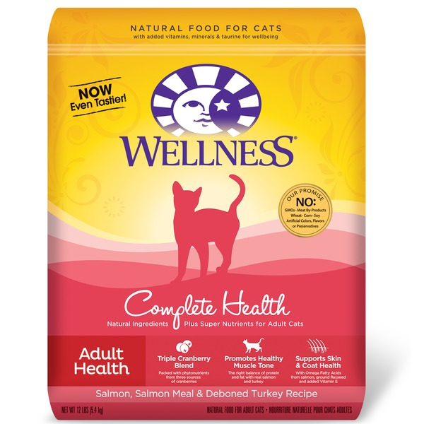 Wellness Complete Health Salmon Salmon Meal & Deboned Turkey Adult Cat Food 12 Lbs.