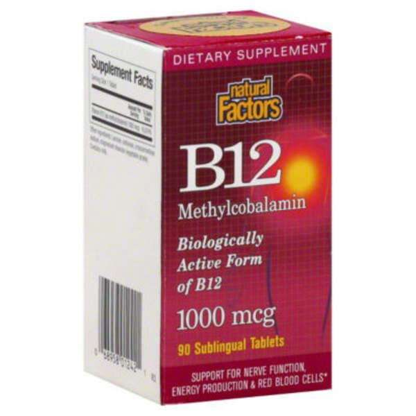 Natural Factors B12, Methylcobalamin, 1000 mcg, Sublingual Tablets