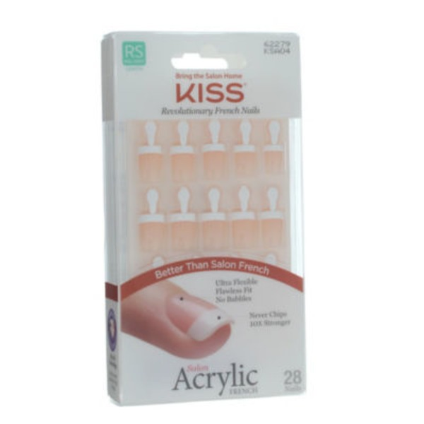 Kiss Salon Acrylic French Nails Real Short Length - 28 CT