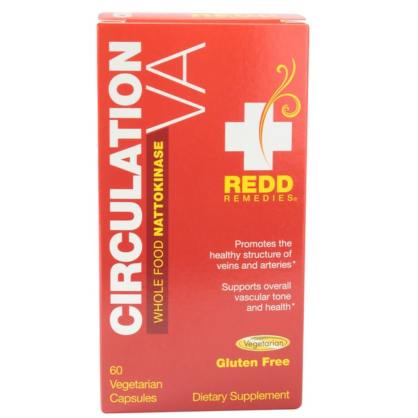 Redd Remedies Circulation Whole Food Nattokinase Gluten Free 60 Vegetarian Capsules