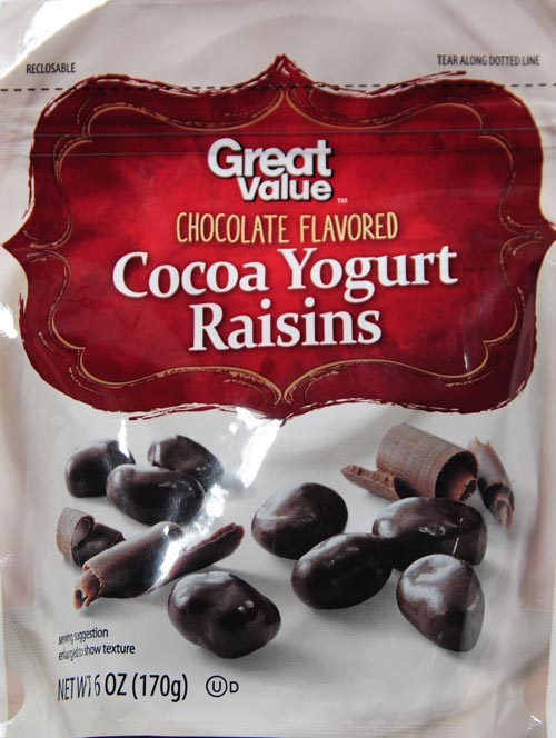 Great Value Chocolate Flavored Cocoa Yogurt Raisins