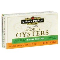 Crown Prince Oysters, Naturally Smoked, in Pure Olive Oil