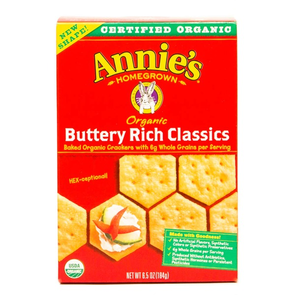 Annie's Homegrown Organic Buttery Rich Baked Cracker Classic Crackers