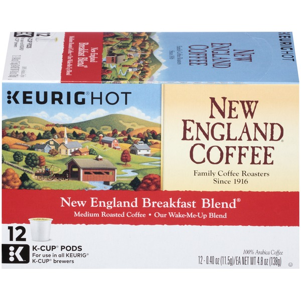 New England Coffee New England Breakfast Blend, Medium Roast K-Cup Pods