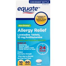 Equate Allergy Relief, Loratadine Tablets, 10 count, 60 count