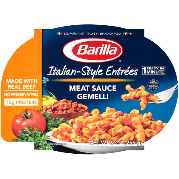 Barilla Ready Meals Italian-Style Entrées Meat Sauce Gemelli Pasta