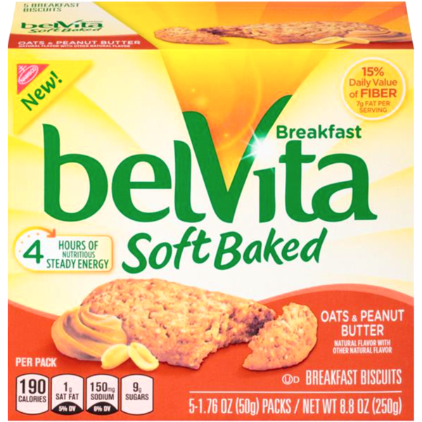 Nabisco Belvita Soft Baked Oats & Peanut Butter Breakfast Biscuits