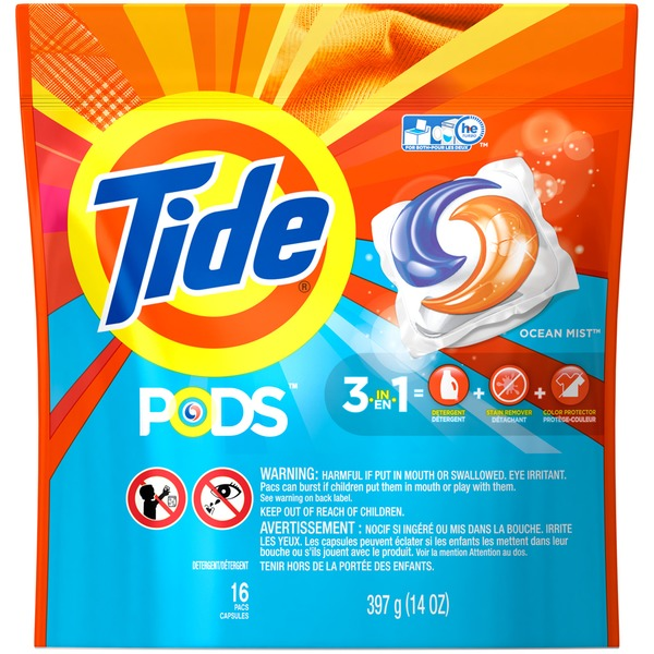 Tide PODS Laundry Detergent, Ocean Mist, 16 count, Designed for Regular and HE Washers Laundry