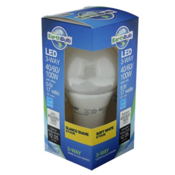 Earthtronics A21 3way 20 W 2700 K Dimmable Bulb