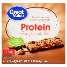 Great Value Chewy Protein Bars, Peanut, Almond & Dark Chocolate, 7 oz, 5 Count