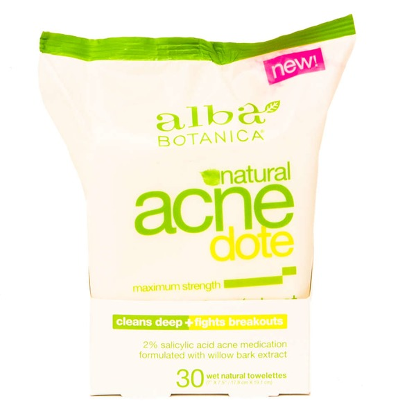 Alba Botanica Natural Acne-dote Maximum Strength Daily Cleaning Towelettes - 30 CT