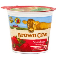 Brown Cow Cream Top Strawberry on the Bottom Whole Milk Yogurt