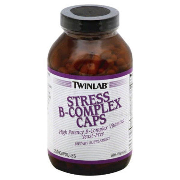 Twinlab Dietary Supplement, Stress, B-Complex, Capsules, Bottle