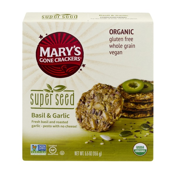 Mary's Gone Crackers Super Seed Crackers Basil & Garlic