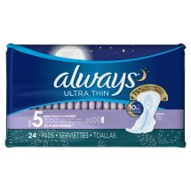 Always Ultra Thin Size 5 Extra Heavy Overnight Pads With Wings, Unscented, 24 Count