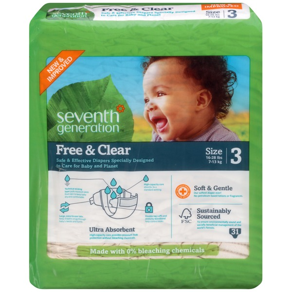Seventh Generation Baby Free & Clear Stage 3 16-28 Lbs. Diapers