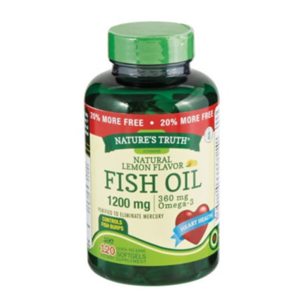 Nature's Truth Organic Fish Oil Natural Lemon Flavor 1200mg Softgels - 120 CT