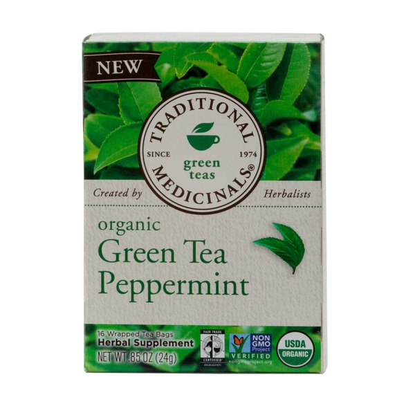 Traditional Medicinals Green Teas Organic Green Tea Peppermint Tea Bags - 16 CT