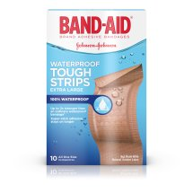BAND-AID® Brand TOUGH-STRIPS® Waterproof Adhesive Bandages, Durable Protection for Minor Cuts and Scrapes, Extra Large, 10 Count