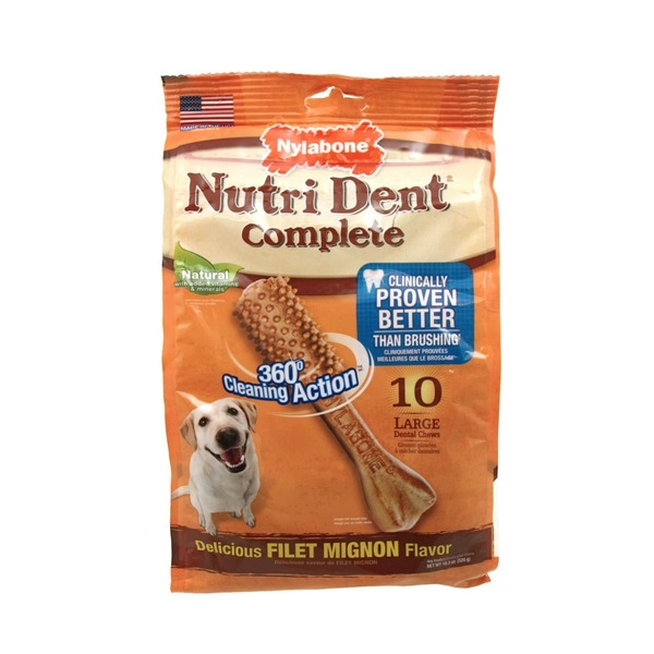 Nylabone Nutri Dent Complete Natural 360 Degree Cleaning Action Large Dental Chews Delicious Filet Mignon Flavor