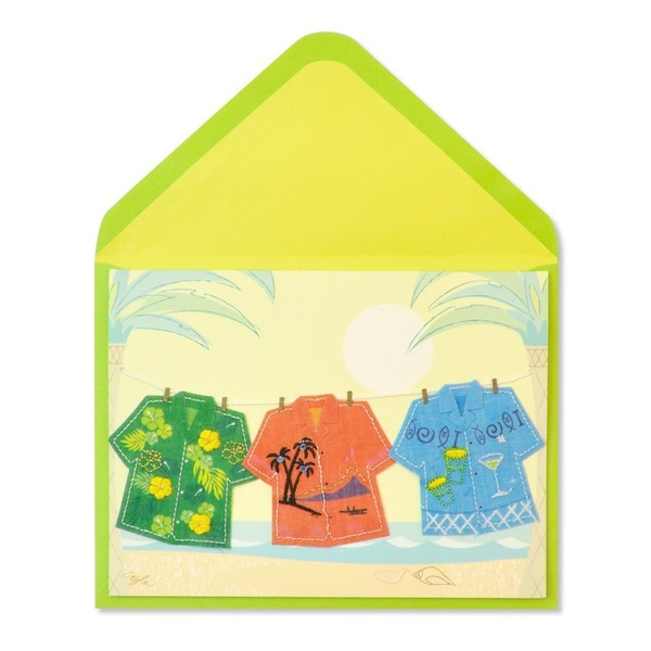 Papyrus Greeting Card - Tropical Shirts On Clothesline 2