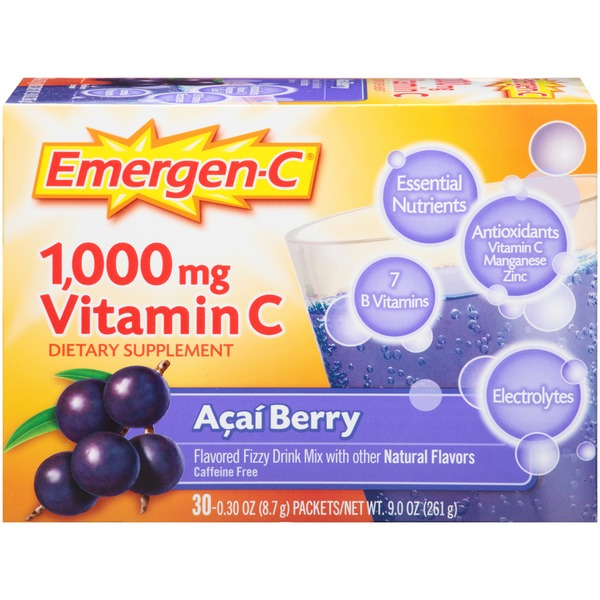 Emergen-C Acai Berry Vitamin C 1000mg Drink Mix Dietary Supplement