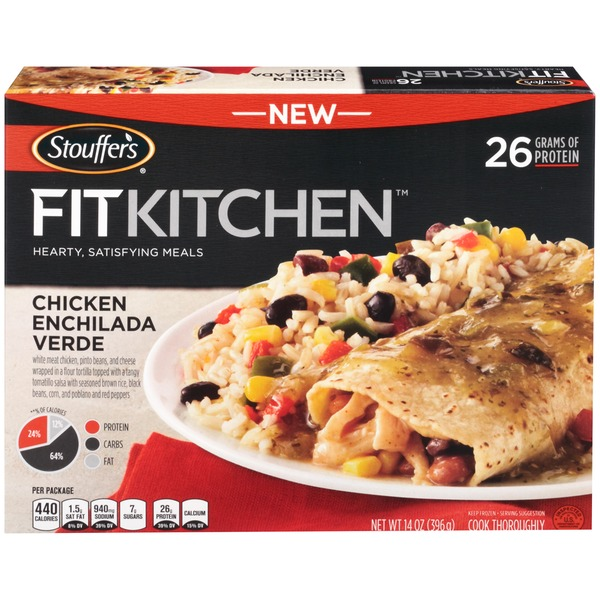 Stouffer's Fit Kitchen White meat chicken, pinto beans, and cheese wrapped in a flour tortilla topped with a tangy tomatillo salsa with seasoned brown rice, black beans, corn, and poblano and red peppers  Chicken Enchilada Verde