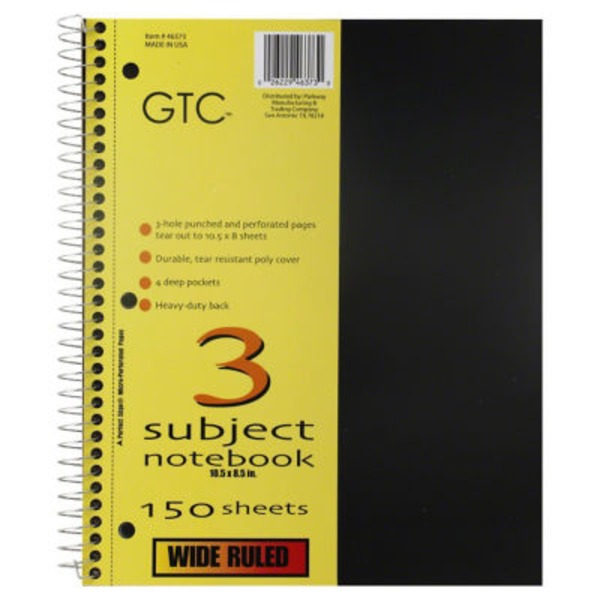 GTC 3 Subject Wide Ruled Notebook