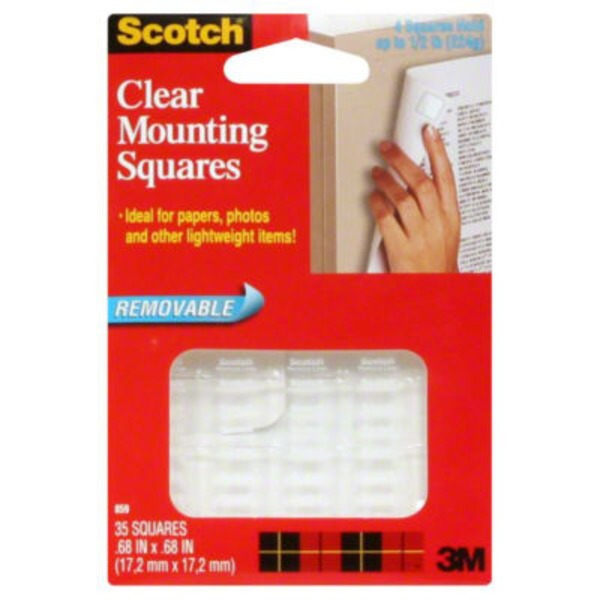 Scotch Removable Clear Mounting Squares - 35 CT