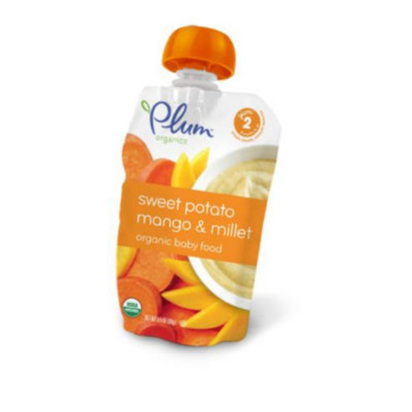 Plum Baby Organics Stage 2 Mango, Sweet Potato Apple & Millet Baby Food