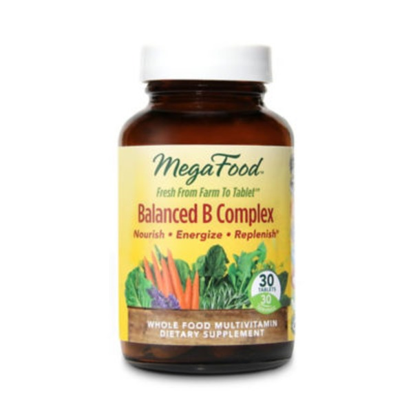 MegaFood Balanced B Complex Tablets Whole Food Multivitamin Dietary Supplement