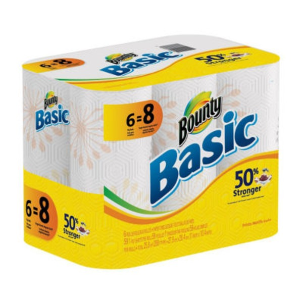 Bounty Basic Basic Bounty Basic Select-A-Size Paper Towels, White, 6 Big Rolls = 8 Regular Rolls Towels/Napkins