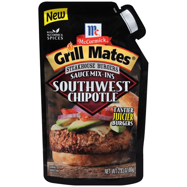 McCormick Grill Mates Steakhouse Burgers Southwest Chipotle Sauce Mix-Ins