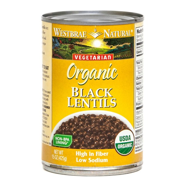 Westbrae Natural Lentils, Black, Organic