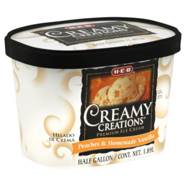 H-E-B Creamy Creations Peaches And Homemade Vanilla Ice Cream