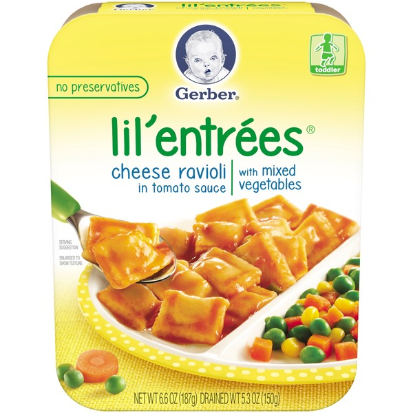 Gerber Graduates Lil' Entrees in Tomato Sauce with Mixed Vegetables Cheese Ravioli