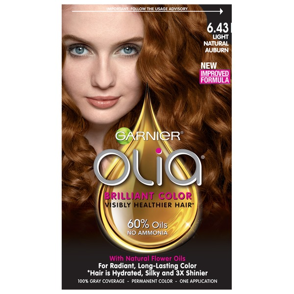 Olia™ 6.43 Light Natural Auburn Oil Powered Permanent Color